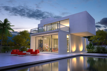 white villa with pool