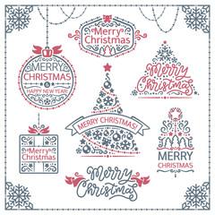 Merry Christmas Design Labels Set