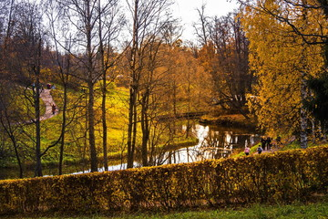 """Slavyanka river in the picturesque Pavlovsk Park. """"Indian summer"""" - the most charming time of the year in Russia."""