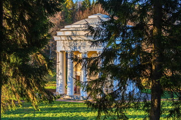 Temple of Friendship in the classical style of architect Cameron. Pavilion-rotunda in Pavlovsk Park.