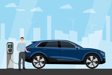 Man charges an electric SUV at a charging station. Vector illustration