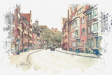 Watercolor sketch or illustration of a street in Muenster in Germany.
