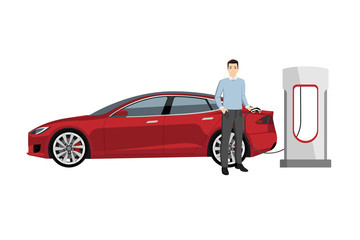 Man charges an electric car at a charging station. Vector illustration