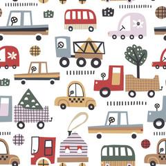 Modèle sans couture de bébé avec jolie voiture. Parfait pour le tissu pour enfants, le textile, le papier peint pour chambre d& 39 enfant. Illustration vectorielle dans un style scandinave.