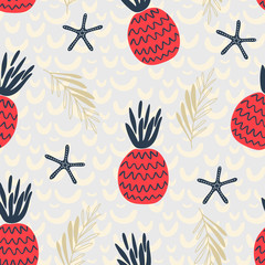 seamless vector pattern in nautical style in red blue color with pineapples and leaves