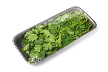 Bunch of cilantro in food tray