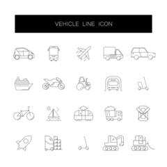 Line icons set. Vehicle pack. Vector illustration