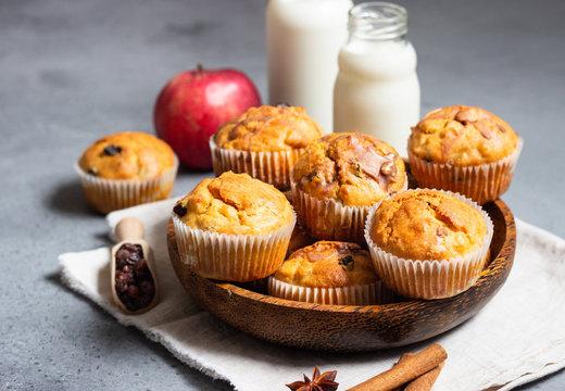 Fresh homemade apple cinnamon muffins
