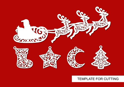 Set of Christmas decoration. Silhouettes of Santa Claus flying in a sleigh with reindeers, sock, star, crescent and tree. Winter template for laser cutting, wood carving, paper cut or printing. Vector