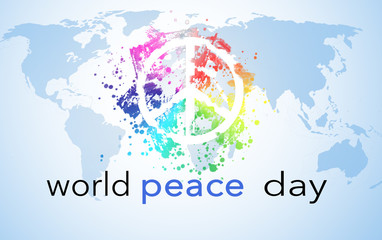 World Peace Day, background with world map and peace symbol