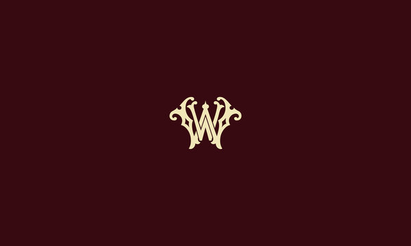 LETTER W AND W SIGNATURE LOGO WITH CIRCLE FRAME FOR LOGO DESIGN OR ILLUSTRATION USE