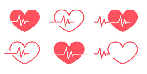 Red heartbeat Icons different 6 styles