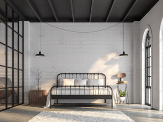 Wall Mural - Industrial loft bedroom 3d render,There are white brick wall,polished concrete floor and black wood ceiling.Furnished with black steel bed ,There are arch shape windows sunlight shining into the room.