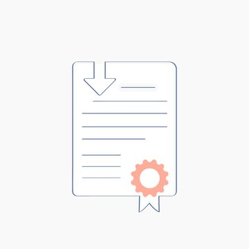 Certificate, Smart contract, License file download. White document paper sheet with apostille and download arrow. Concept of Certification, White Paper, Lawyer Contract or Notary Blank