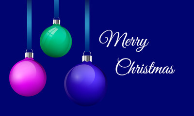 Merry Christmas greeting card design with realistic pink blue and green glass christmas balls. 3d Baubles hanging on silk ribbon. Vector illustration. dark blue background