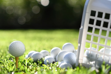 Golf ball on tee and golf balls in basket on green grass