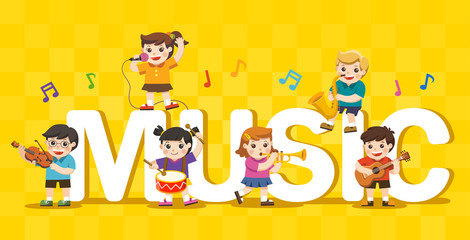 Music concept of children group. Kids playing musical instruments around big Music Text.