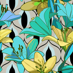 Lilies on vintage seamless pattern.