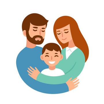 Parents hugging child