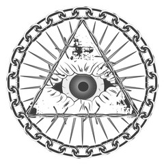 stylized spiritualist symbol. a pyramid of barbed wire with a bone eye in the center. circle of chain and beams