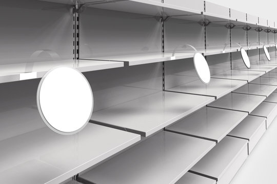 Empty racks with shelves in a supermarket with round wobblers in perspective. 3d illustration.