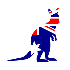 Australian Kangaroo with flag