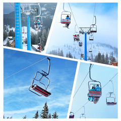 Set of young people with sports gear and aerial lift at mountain ski resort. Winter vacation