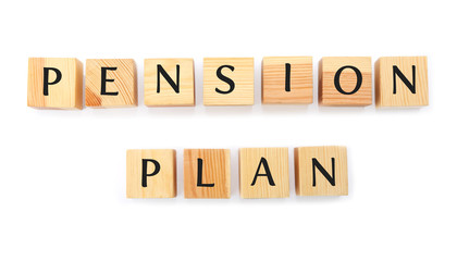 Wooden cubes with text PENSION PLAN on white background