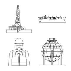 Vector illustration of oil and gas sign. Collection of oil and petrol stock symbol for web.