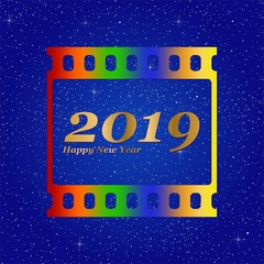 New year greetings for 2019 with colorful blank film and photographic window with golden inscription Happy new year and number 2019 on a blue background with starts