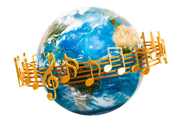 Earth Globe with musical notes around, 3D rendering