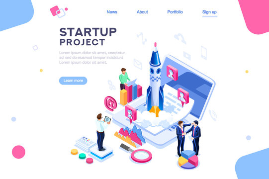 Space dashboard for tech teamwork, ux at new launch of company. Homepage for a product, start a conceptual project on website. Insurance infographic. Isometry concept with characters. Isometric vector