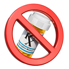 No drugs concept. Sign forbidden with medical bottles full drugs. 3D rendering