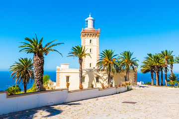 Foto auf Leinwand Marokko Beautiful Lighthouse of Cap Spartel close to Tanger city and Gibraltar, Morocco in Africa