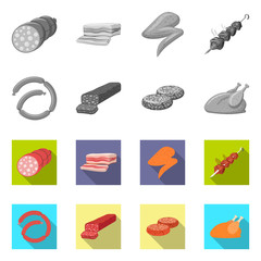 Vector illustration of meat and ham symbol. Collection of meat and cooking stock vector illustration.