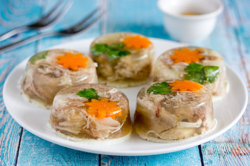 Aspic jellied meat with vegetables, traditional russian dish holodets