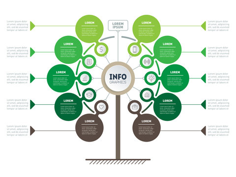 Green Business presentation concept with 10 options. Web Template of timeline, tree, info chart or diagram. Vector infographic of agriculture processes with 10 steps.