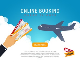 Cheap flight travel vector banner best seller . Online booking airline tickets background concept. Air travel and Business trip concept.