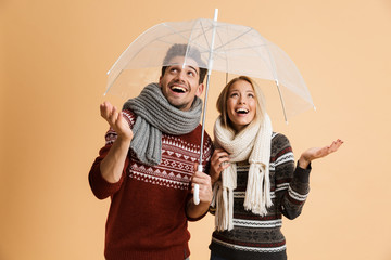 Portrait of a cheerful young couple dressed in sweaters