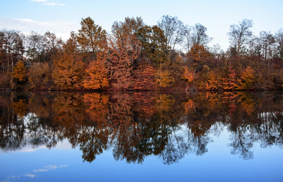 Autumn landscape with lake in the forest. Autumn forest.