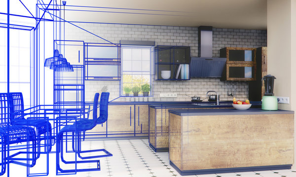 Küchenplanung - Skizze - 3D Render