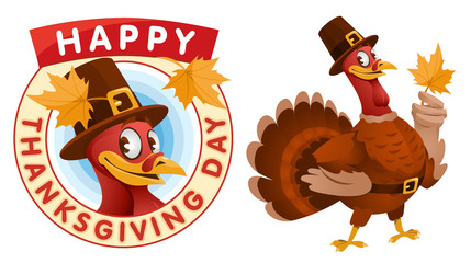 Happy Thanksgiving Day. Cartoon turkey in a pilgrim hat keeps the autumn leaf.