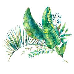 Exotic natural vintage watercolor greeting card of banana leaves