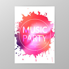 Music party poster, paint splatter party flyer template vector illustration. Music party promotional banner with ink stain
