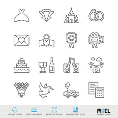 Vector Line Icons Wedding Related Set. Marriage Linear Symbols. Pixel Perfect Design. Editable Stroke. Adjust Line Weight. Expand to Any Size. Change to Any Color.