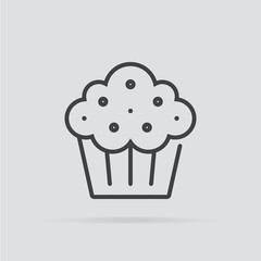 Cupcake icon in flat style isolated on grey background.