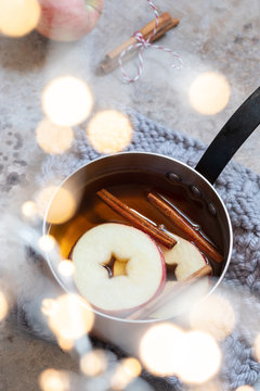 Hot apple cider with fall cinnamon and star anise