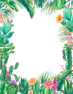 Exotic natural vintage watercolor blooming cactus vertical frame
