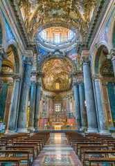 Interior sight in the Church of San Giuseppe dei Teatini in Palermo. Sicily, southern Italy.