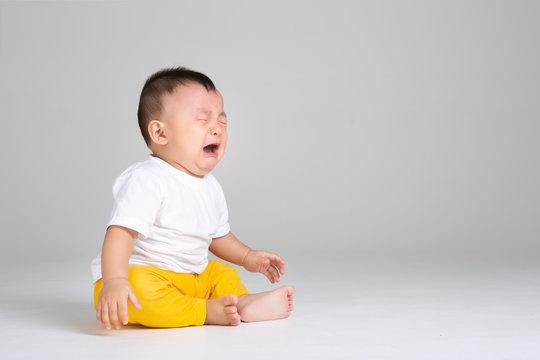 crying baby boy isolated,